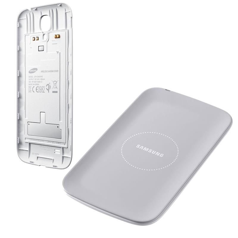 Celular Cargador Samsung S4 Inalambrico Kit Base + Cover White